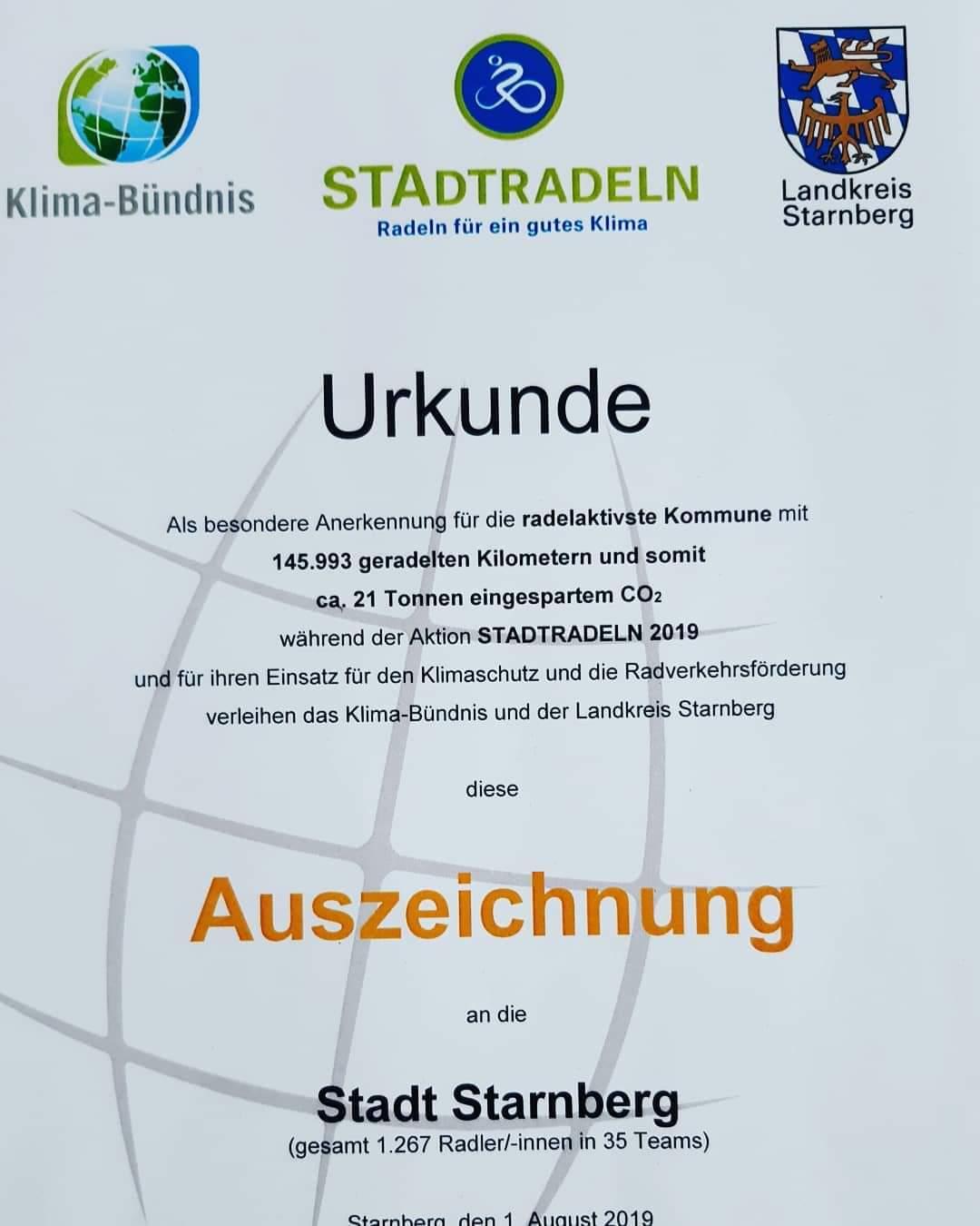 Auszeichnung Stadtradeln 2019