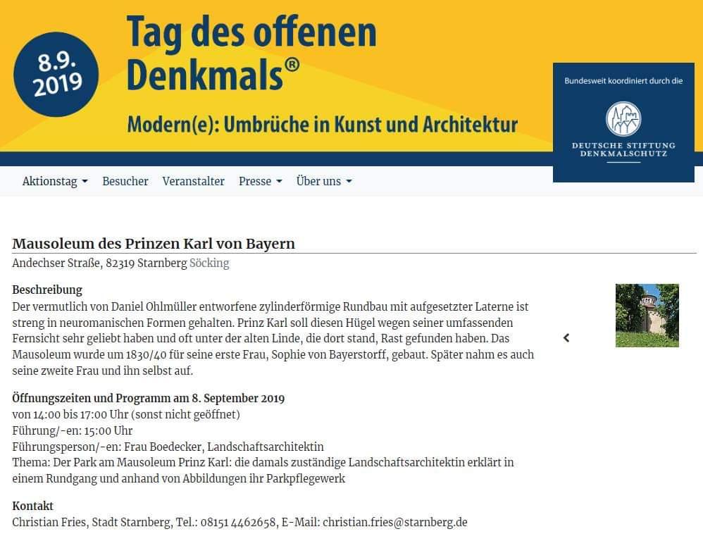 Tag des offenen Denkmals am 08.09.2019 in Söcking und Starnberg